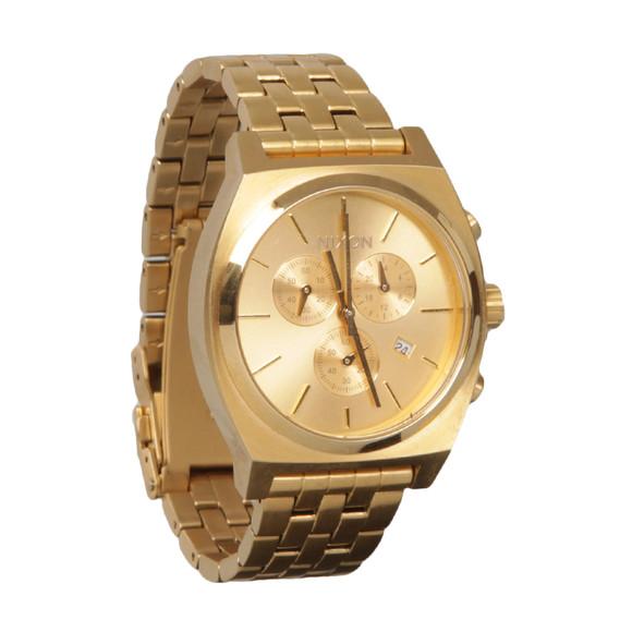 Nixon Mens Gold Time Teller Chrono Watch main image