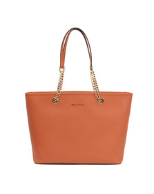 Michael Kors Womens Orange Jet Set Travel Chain Tote Bag