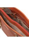 Michael Kors Womens Orange Jet Set Travel Chain Tote Bag