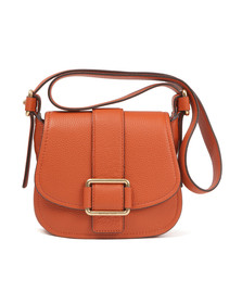 Michael Kors Womens Orange Maxine Mid Saddle Bag