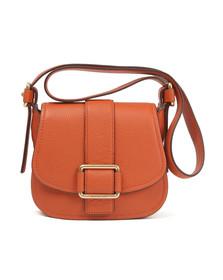 Michael Kors Womens Orange Maxine Mid Saddle Bag