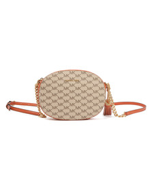 Michael Kors Womens Orange Ginny Mid Messenger