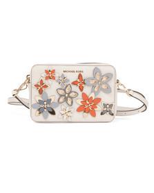 Michael Kors Womens White Flowers Mid Camera Bag