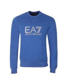 EA7 Emporio Armani Mens Blue Large Printed Logo Sweatshirt
