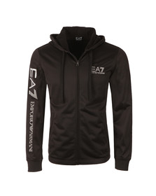 EA7 Emporio Armani Mens Black Full Zip Sleeve Logo Tricot Hoody