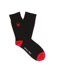 Jeffery West Mens Black Skull Logo Sock
