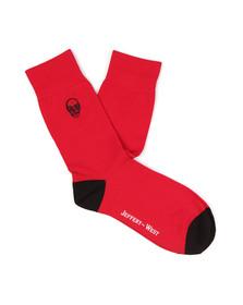 Jeffery West Mens Red Skull Logo Sock