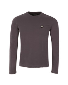 EA7 Emporio Armani Mens Grey Small Shield Long Sleeve T Shirt