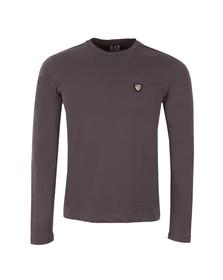 EA7 Emporio Armani Mens Grey Small Shield Long Sleeve T-Shirt