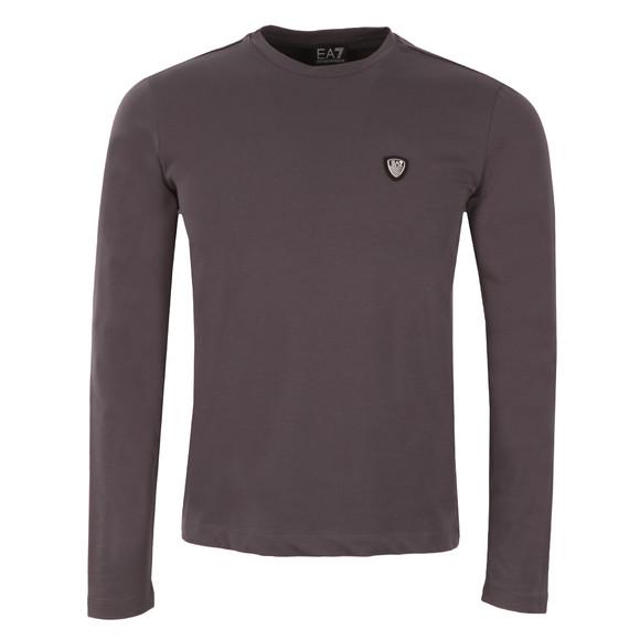 EA7 Emporio Armani Mens Grey Small Shield Long Sleeve T-Shirt main image