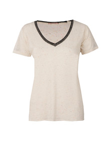 Maison Scotch Womens Off-white Deep V Neck T Shirt