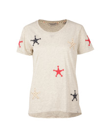 Maison Scotch Womens Grey Patched Stars Tee