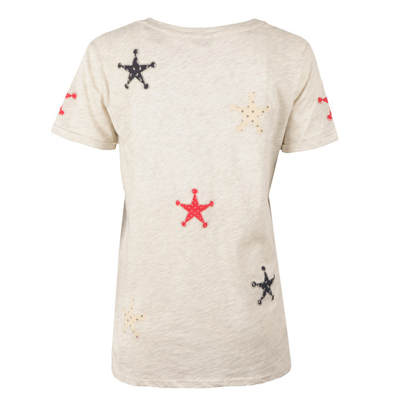 Maison Scotch Womens Grey Patched Stars Tee main image