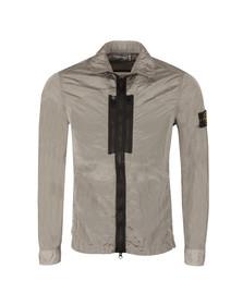 Stone Island Mens Grey Crinkle Zip Overshirt