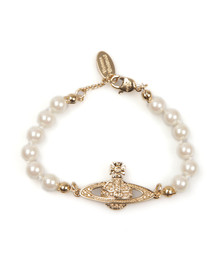 Vivienne Westwood Womens Gold Mini Bas Relief Pearl Bracelet