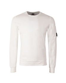 CP Company Mens White Viewfinder Sleeve Crew Sweat