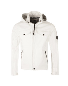 CP Company Mens White Lightweight Waterproof Hooded Jacket