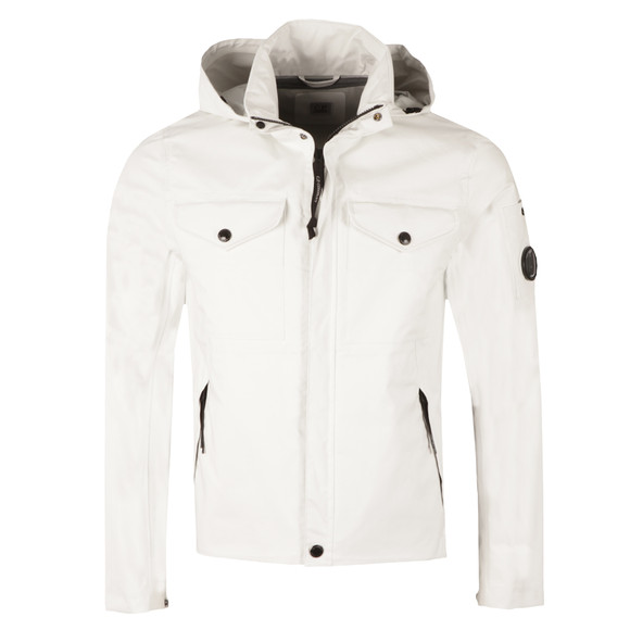 CP Company Mens White Lightweight Waterproof Hooded Jacket main image