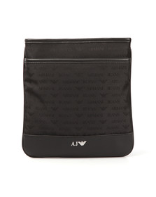 Armani Jeans Mens Black Allover Logo Bag