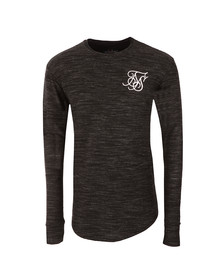 Sik Silk Mens Black Long Sleeve Inject Waffle Tee