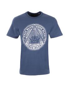 True Religion Mens Blue Sunburst Logo Tee