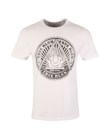 True Religion Mens White Sunburst Logo Tee
