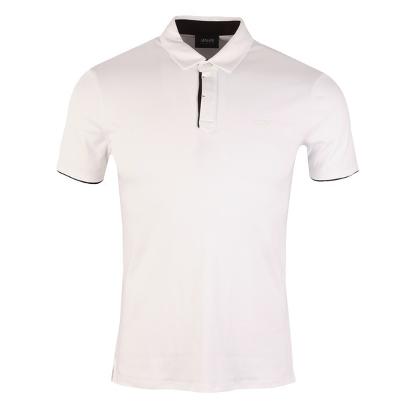 Armani Jeans Mens White Small Logo Jersey Polo Shirt main image