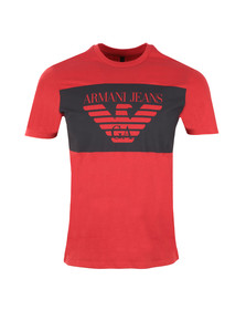 Armani Jeans Mens Red Large Logo T Shirt