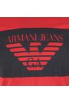 Armani Jeans Mens Red Large Logo T Shirt