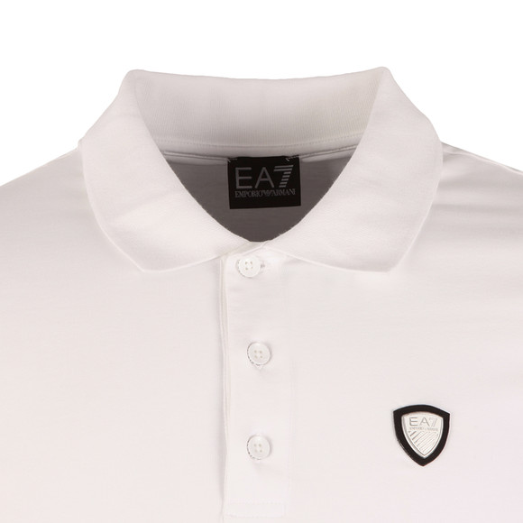 EA7 Emporio Armani Mens White Small Shield Logo Polo Shirt main image