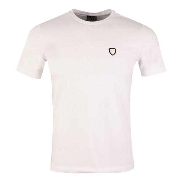 EA7 Emporio Armani Mens White Small Shield Logo T Shirt main image