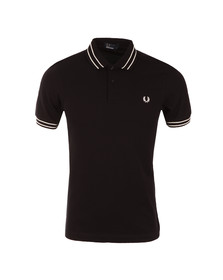 Fred Perry Mens Black S/S Tramline Tipped Polo