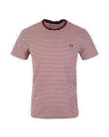 Fred Perry Mens Red Fine Stripe T-Shirt