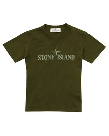 Stone Island Junior  Boys Green Logo T Shirt
