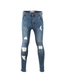 Sik Silk Mens Blue Distressed Skinny Jean
