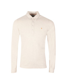Farah Mens White Merriweather L/S Polo Shirt