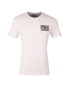 True Religion Mens White Stacked Logos T Shirt