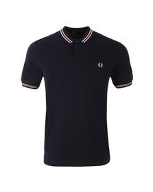 Fred Perry Mens Blue Bomber Stripe Pique Polo Shirt
