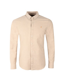 Farah Mens Off-white L/S Brewer Oxford Shirt