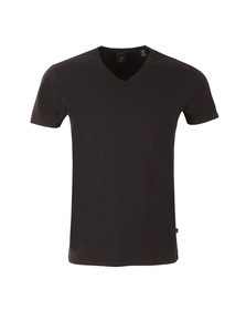 Scotch & Soda Mens Black Cotton/Lycra V Neck T-Shirt