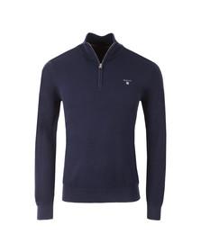 Gant Mens Blue Cotton Pique Half Zip