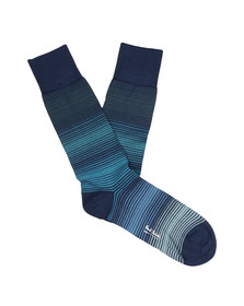 Paul Smith Mens Blue Fine Grade Stripe Socks