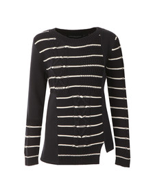French Connection Womens Blue Cable Stripe Knit Jumper