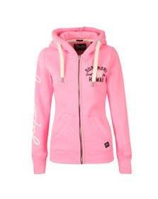 Superdry Womens Pink Applique Zip Hoody