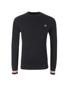 Fred Perry Mens Blue Yarn Pique Crew Neck Jumper