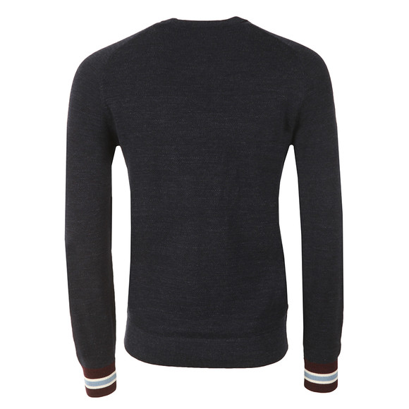 Fred Perry Mens Blue Yarn Pique Crew Neck Jumper main image