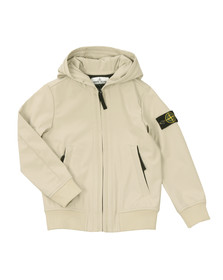 Stone Island Junior  Boys Beige Light Hooded Soft Shell Jacket
