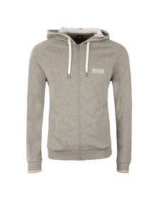 Boss Mens Grey White Logo Full Zip Hoody