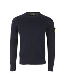 Stone Island Mens Blue Fine Cotton Crew Neck Jumper