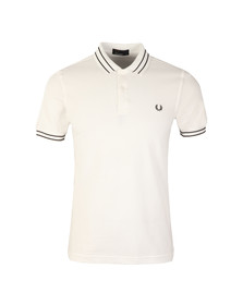 Fred Perry Mens White S/S Tramline Tipped Polo